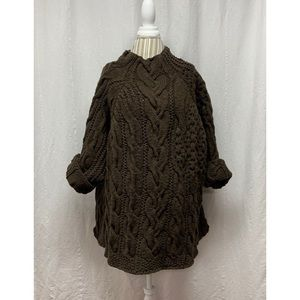 LILITH Brown Chunky Knit Angora Wool Cable Sweater